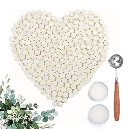 KELZIA Wellness 230 Pezzi di Cera sigillante Ottagonale con 2 Candele da tè + 1 Cucchiaio da sciogliere. Cera per Sigillo di Cera (Bianco)