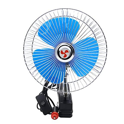 KoelrMsd Mini Ventilador de Coche eléctrico de 8 Pulgadas 12 V / 24 V, Ventilador de Verano de bajo Ruido para Coche, Ventilador de refrigeración oscilante automático para vehículo y camión