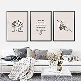 Impresión HD Hold Hand Baby One Line Art Poster, cuadros de pared Arte de pared para sala de estar con cita de guardería 3 piezas 60x80cm sin marco