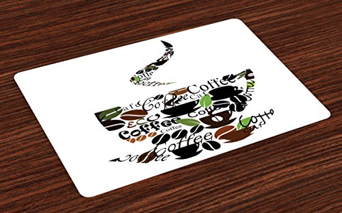 Lunarable Coffee Place Mats Set of 4, Steam Pattern with Cups Beans and Leaves Lettering Modern Inspired Art Print, Washable Fabric Placemats for Dining Table, Standard Size, Black Brown