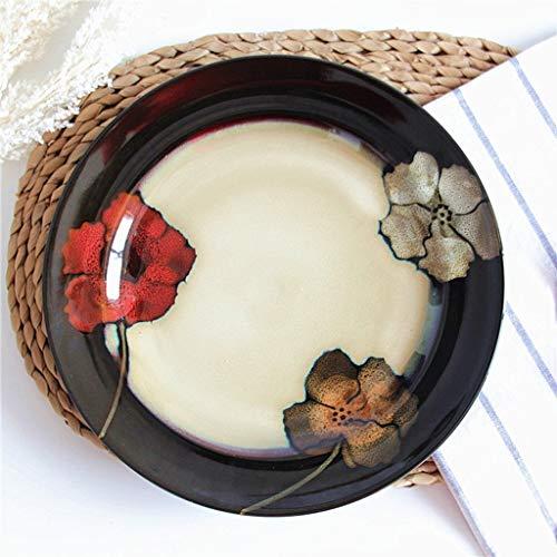JINKEBIN Cuenco de Cerámica Ensaladera de Cosecha de Flores de Color Placa del Filete Bandeja Pizza Fideos de arroz Vajilla 27.5x3cm