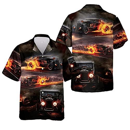 Hot Rod Fire Hawaiian Shirt Cotton …