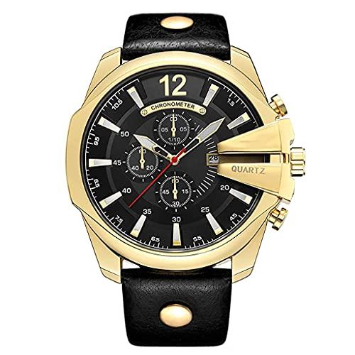 DSJMUY Hombre Cronógrafo Analógico Cuarzo 3bar Impermeable Pulsera de Cuero Deporte Watch Business Casual Relojes de Pulsera Regalo Elegante