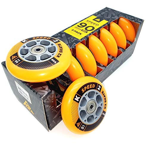 K2 Rollen Set 8 STÜCK 90mm/85A + 16 ILQ9 + 8 ALU Spacer 6mm (SET-3053013.1.1.1.90mm)