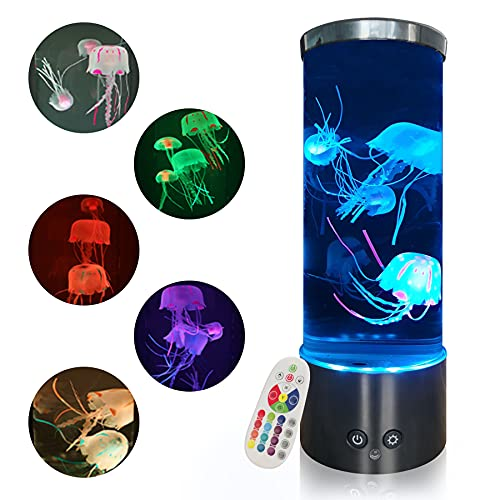 Jellyfish Lamp with Color Changing Mood Light - Round Led Jellyfish Lava Lamp with Remote, USB Jellyfish Aquarium for Home Office Table Room Decor Gifts for Kids Adults