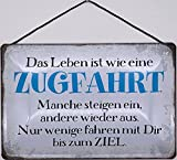 Blechschild Con cordón de 30 x 20 cm con texto en alemán 'Das Leben ist wie eine Zugfahrt' - Blechemma