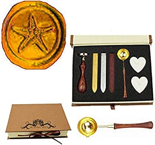 MNYR Vintage Starfish Sealing Wax Seal Stamp Wood Handle Melting Spoon Wax Stick Candle Gift Book Box kit Wedding Invitation Embellishment Holiday Card Christmas Gift Wrap Package Seal Stamp Set