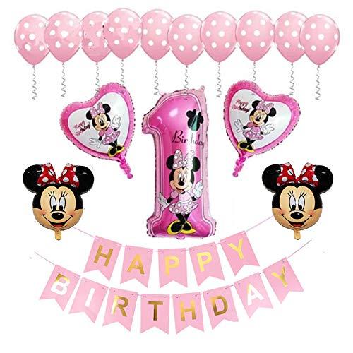 Globo Minnie, FANDE Decoraciones de Cumpleaños de Mickey Mouse, 1er Cumpleaños Bebe Rosa Globos Decoracion Mouse Party Globos Latex Ballon para Party Comunion Bautizo Decoracion