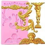 FGHHT Moldes de Silicona con Borde de Relieve de Desplazamiento, Herramientas de decoración de tortas con Fondant y Cupcakes de Flores de ángel,moldes deChocolate y Dulces