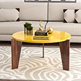 DecorNation Aurora Wooden Coffee Table | Cocktail Table | Center Table for Living Room, Bedroom | Yellow Finish