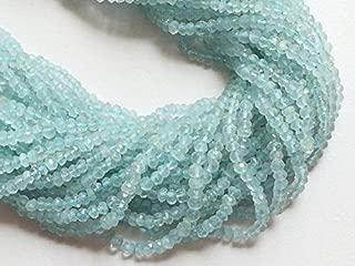 Jewel Beads 50% Off 5 Strand Natural Aquamarine Rondelle Beads - Aquamarine Micro Faceted Rondelles, 3.5mm to 4mm, 14 Inch Code-AUR-17333