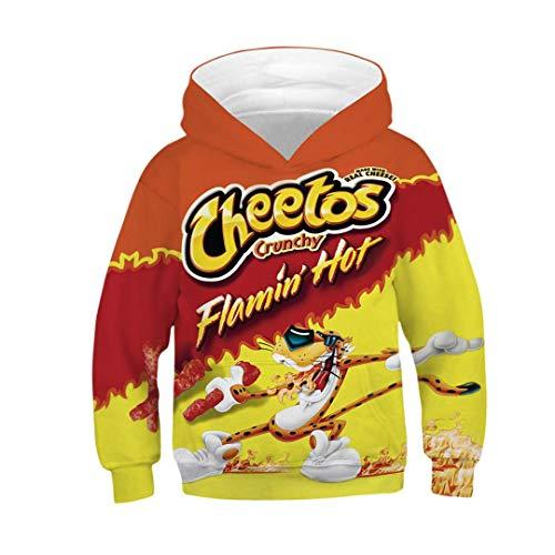 JLDJWSJD Herbst-Winter-Kinder Hoodies Nutella Cheetos Nudel-Essen 3D-Druck-Teen Jungen Mädchen Hoodie Sweatshirts Orange 8