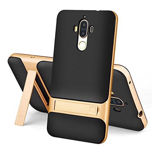 Huawei Mate 9 Case,Setber Cross Hatch TPU Back Cover+Colorful Bumper Dual Layer 2 in 1 with Kickstand for Huawei Mate 9-Gold