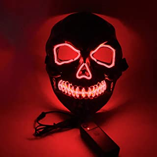 Honelife Halloween Party Mask LED Scary Flash Mask EL Line Light Mask Cosplay Mask Party Clothing Mask Supplies Multi-colo...