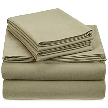 Pinzon Signature 190-Gram Cotton Heavyweight Velvet Flannel Sheet Set - King, Thyme Green