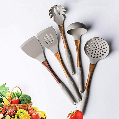 LILICEN Spatula Silicone Cooking Utensils Kitchen Utensil Set,5 Piece Sleeve Natural Acacia Wooden Silicone Kitchen Utensils Set Silicone Utensil Set Spatula Set