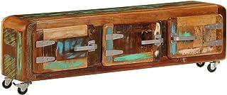 UnfadeMemory Mueble para TV,Mesa para TV,Mesa Baja para Salón Dormitorio,Estilo Vintage y Industrial,con 3 Puertas,Madera Maciza Reciclada 120x30x37cm