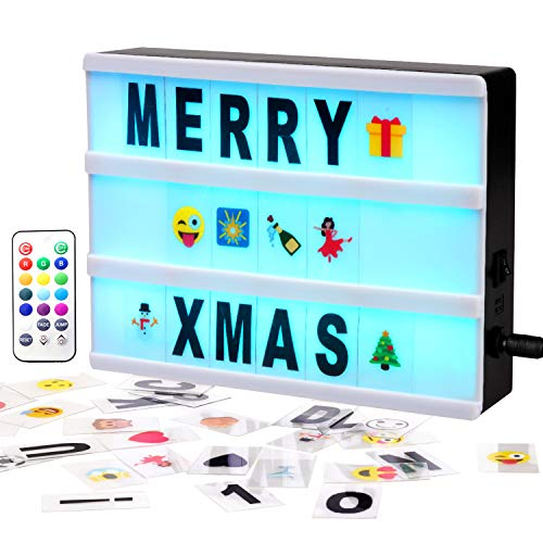 Gemaxvoled Color Changing Cinematic Light Box- A4 Mini Cinema Light Up Sign with 160 Letters Numbers and Symbols, Personalized 13 Colored LED Lightbox for Home Decor,Wedding,Birthday Parties