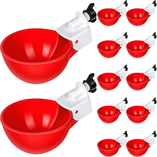 Chicken Water Cups Chicken Watering Cup Automatic Filling Waterer Poultry Drinking Bowl 1/8 Inch Thread Chicken Feeder Cups for Chickens Ducks Geese Turkeys (12 Pieces)
