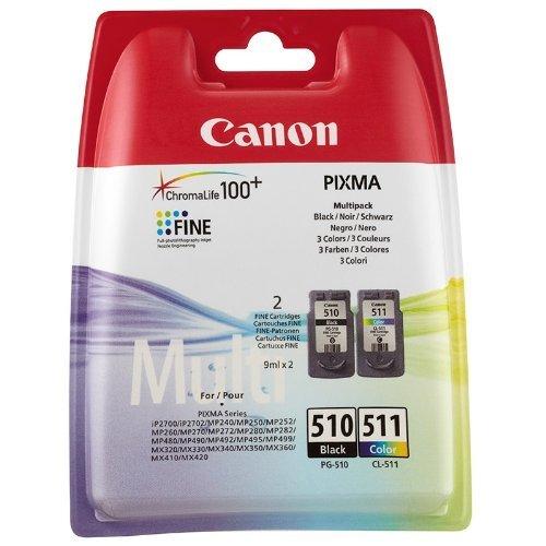 Canon Original Tintenpatronen Combo-Pack PG510 (PG-510) Schwarz und CL511 (CL-511) Farbe, Einzelhandelsverpackung, 10°x HP Advanced Glossy Fotopapier inklusive für Canon PIXMA iP2700 iP2702 MP240 MP250 MP252 MP260 MP270 MP272 MP280 MP282 MP480 MP490 MP492 MP495 MP499 MX320 MX330 MX340 MX350 MX410 MX420 Printers (2970B001AA, 2972B001AA)