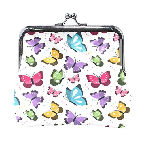Monedero Embrague Bolso pequeño Monedero Bolsa Cambio de Tarjeta Organizador Titular Pequeño Mini Almacenamiento Llave de sujeción para niña Mujer Regalo de Fiesta Mariposas Coloridas-TY