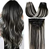 LaaVoo 5pcs Clip in Hair Extensions Silver Grey Human Hair Ombre Clip ins 18Inch 70g Silver Highlighted Off Black Thick Ends Balayage Hair Extensions Clip in Real Remy Hair Extensions