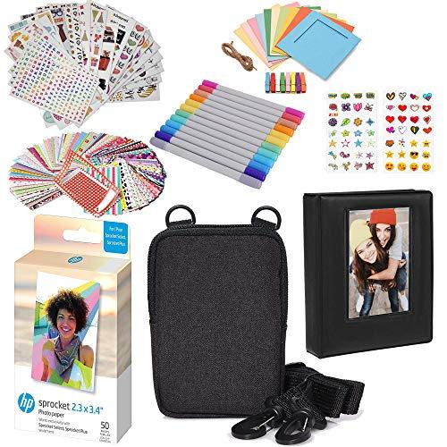 HP Papel fotográfico Zink Premium de 50 Unidades, 5,8 x 8,6 cm, Kit de Accesorios con álbum de Fotos, Estuche, Pegatinas, marcadores