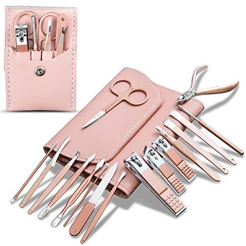Nagelknipser Kit 22 in 1 Rosa Maniküre Set Nagelschneider Edelstahl Fingernagelknipser und Fußnagelknipser, Nagelknipser Eingestellt mit Nagelfeile, Nagelpflege Werkzeuge für Herren und Damen