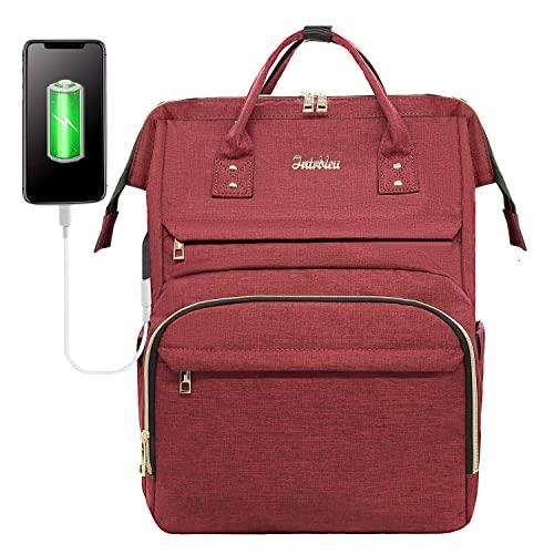 Intrbleu Laptop Backpack Women Teacher Backpack Nurse Bags, 15.6 Inch Work Backpack Womens Fashion Backpack Purse Waterproof Travel Backpack, Anti-theft, Luggage Strap, USB Charging Port(Wine)
