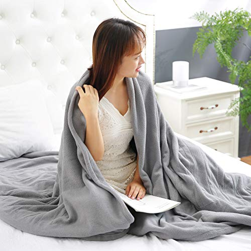 MaxKare Electric Heated Blanket Twin Size 62'' x 84'' Polar Fleece Full Body Warming Premium Microfiber Sofa Blankets with Auto-Off 4 Temperature Settings Overheating Protection