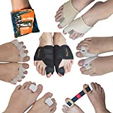 BodyMoves Bunion Corrector 12-Piece Set with Reusable hot and Cold Gel Pack Big Toe Orthopedic Splint for Pain Relief, Hallux valgus Turf Toe Tailors Bunion Hammer Toe Straightener