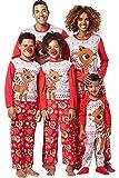 Pigiami Famiglia Coordinati Manica Lunga Stampa Renne Fiocco di Neve Natale Pigiama Due Pezzi Top e Pantaloni Biancheria Camicie da Notte Uguale Pajama Set per Bambini di Famiglia Papà Mamma Sleepwear