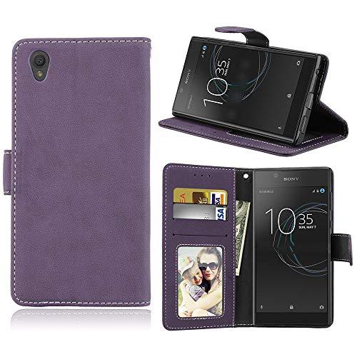 Sangrl Libro Funda para Sony Xperia L1 / G3311, PU Cuero Cover Flip Soporte Case [Función de Soporte] [Tarjeta Ranuras] Cuero Sintética Wallet Flip Case Púrpura