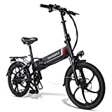 20 Inch Folding Electric Bikes for Adults, 350W 48V Electric Mountain Bike 10.4AH Removable Lithium Battery Shimano 7 Speeds Support and USB Charging for Mobile Phones for Women Men [EU Stock]