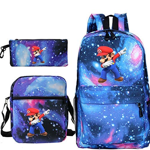 Super Mario backpack 3Pcs/Sets Dab Super Mario Backpacks Teenage Travel Bag Girls Boys School Bagpack with Cute Pencil Case Shoulder Bag WTZ012