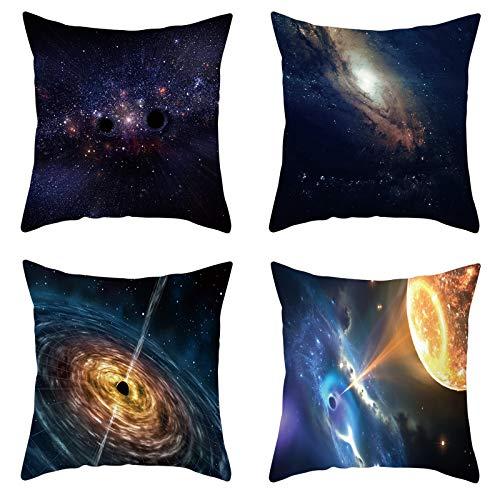 AtHomeShop - Set di 4 federe per cuscino, 50 x 50 cm, in poliestere con motivo a stella, quadrate, per soggiorno, divano, terrazzo, decorazione – blu oro, set da 6