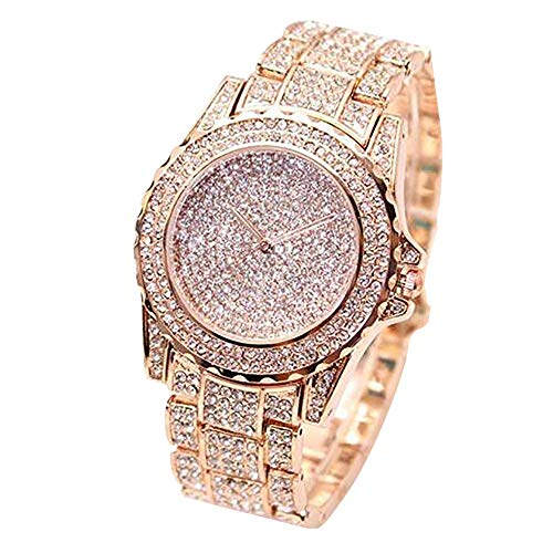 ARMRA Luxury Women Watch Bling Bling Fashion Jewelry Crystal Diamond Rhinestone Ladies Watches Steel Band Round Dial Analog Clock Classic Quartz Female Charm Bracelet Dress Wristwatches (Rose Gold)