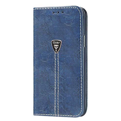 iDoer Galaxy S7 Hochwertig handyhülle mit Klappe Tasche schutzhülle Handys Schutz Hülle PU Leder für Samsung Galaxy S7 (Blau)