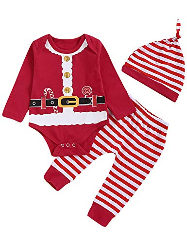 Aslaylme Baby Boy Girls Christmas Outfit Set Newborn Xmas Santa Claus Costume Bodysuit with Hat (Red,0-3 Months)