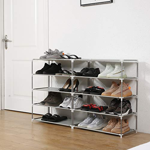 Firstry 2 x 5 Tiers Shoe Rack 30 Pairs Shoes Organizer Sturdy Space Saving Shoe Storage Tower Shelf