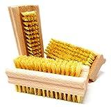 Pilix MITTELHARTE/Harte Nagelbürste Holz Naturborsten | 3 Stück | Borsten Natur Fibre | VEGAN | Fingerbürste Nagelbürste hart | Handbürste Holz | Handwerkerbürste Mechanikerbürste