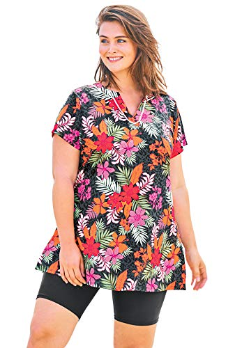 Swimsuits For All Women's Plus Size Short-Sleeve Swim Tunic - 32, Multi Floral