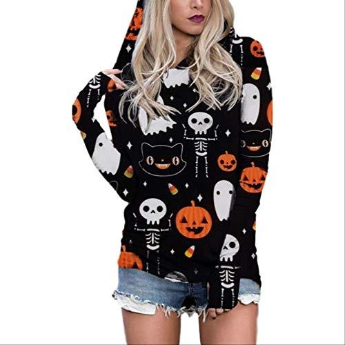 ZCMWY Frauen Pullover Streetwear Halloween Laterne Ghost Pumpkin Shirts Kapuze Langarm Tops XXXL Orange