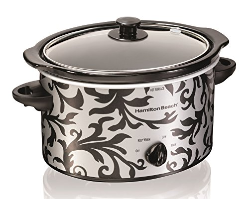 Hamilton Beach 804904219250 33237 Patterned Oval Slow Cooker, 3-Quart, Silver