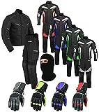 Wasserdichtes Motorrad Klage Gewebe (Jacke + Hose + Handschuhe + Balaclava) Motorradbekleidung für alle Wetter - Cordura Fabric - CE Armour - 6 Packs Entwurf - Grün/Green - X-Large