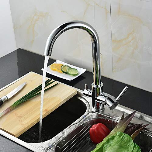 Grifo de cocina de 3 vías para ósmosis, filtro de agua, grifo mezclador giratorio 360°, incluye 1/2 adaptadores