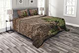 Ambesonne Antlers Bedspread, Evergreen Branch Deer Antler Against Rustic Wooden Background Print, Decorative Quilted 3 Piece Coverlet Set with 2 Pillow Shams, King Size, Fern Green