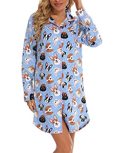 ENJOYNIGHT Damen Flanell Nachthemd Langarm Schlafshirt Knopfleiste Nachtwäsche Kurz S-XXL(XX-Large,Blauer Hund)