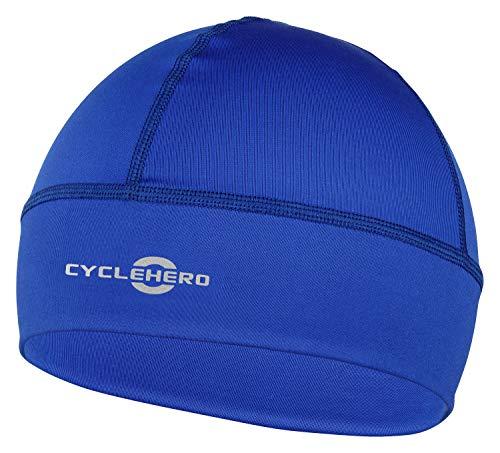 CYCLEHERO Helmmütze Winddicht (blau, L-XXL) - wasserdichte Herren und Damen Fahrrad Mütze für unter den Fahrradhelm
