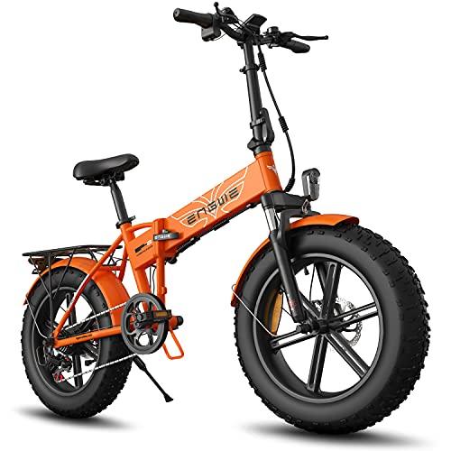 ENGWE Bicicletta Elettrica Pieghevole 750W Adulto 20'4.0 Fat Tire Bicycles Scooter Elettrico Alluminio 7 Velocità Gear E-Bike con Batteria al Litio Rimovibile 48V12.8A Fino a 28MPH (Arancia)